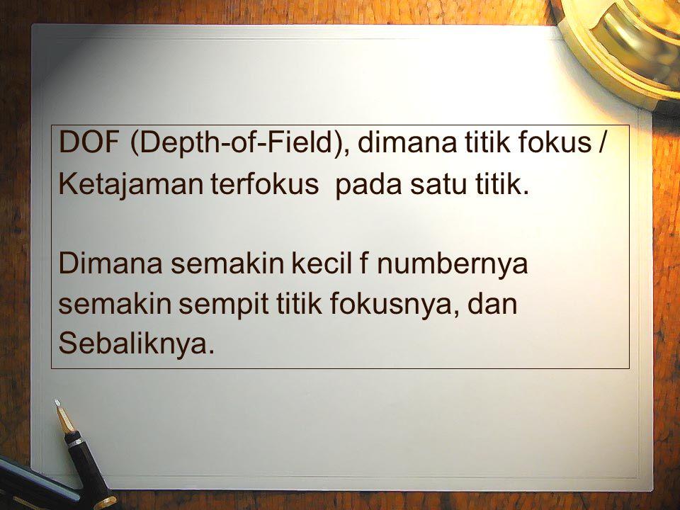 DOF ( Depth-of-Field), dimana titik fokus / Ketajaman terfokus pada satu titik.