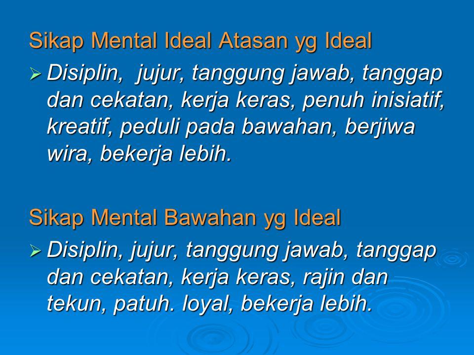 Sikap Mental Ideal Atasan yg Ideal  Disiplin, jujur, tanggung jawab, tanggap dan cekatan, kerja keras, penuh inisiatif, kreatif, peduli pada bawahan,