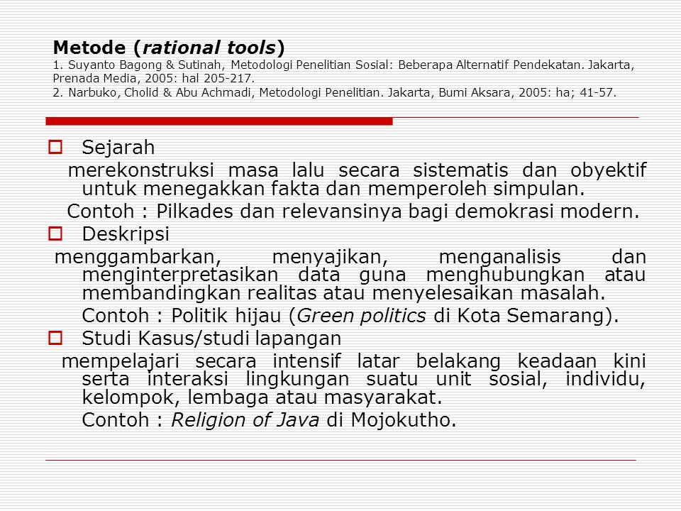 Metode (rational tools) 1. Suyanto Bagong & Sutinah, Metodologi Penelitian Sosial: Beberapa Alternatif Pendekatan. Jakarta, Prenada Media, 2005: hal 2