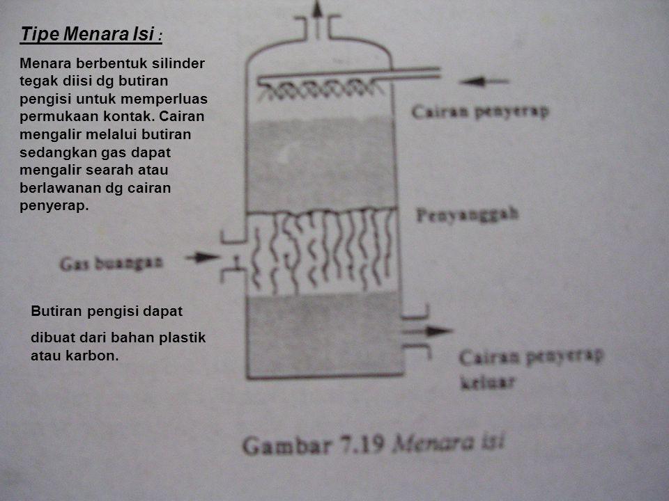 Tipe Menara Isi : Menara berbentuk silinder tegak diisi dg butiran pengisi untuk memperluas permukaan kontak.
