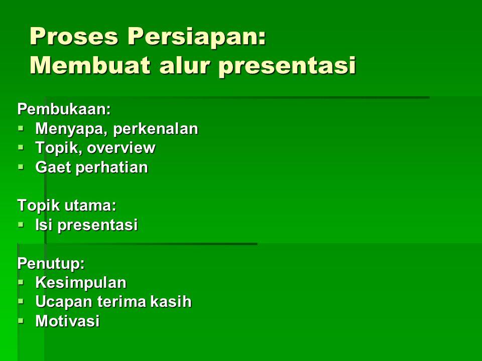 Proses Persiapan: Membuat alur presentasi Pembukaan:  Menyapa, perkenalan  Topik, overview  Gaet perhatian Topik utama:  Isi presentasi Penutup: 
