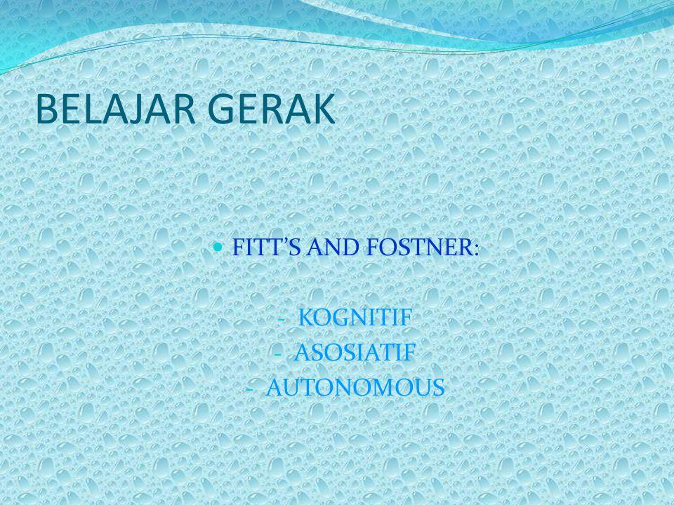 BELAJAR GERAK  FITT'S AND FOSTNER: - KOGNITIF - ASOSIATIF - AUTONOMOUS