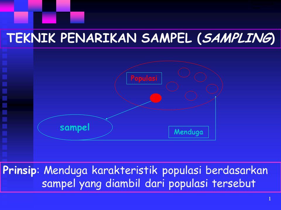 1 TEKNIK PENARIKAN SAMPEL (SAMPLING) sampel Prinsip: Menduga karakteristik populasi berdasarkan sampel yang diambil dari populasi tersebut Menduga Populasi Teknik penarikan sampel