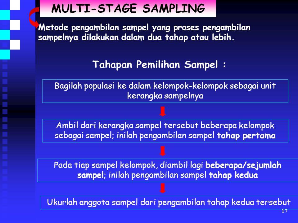 16 CLUSTER SAMPLING Metode pengambilan sampel yang digunakan untuk memilih sampel yang berupa kluster/kelompok dari beberapa kelompok dalam populasi d