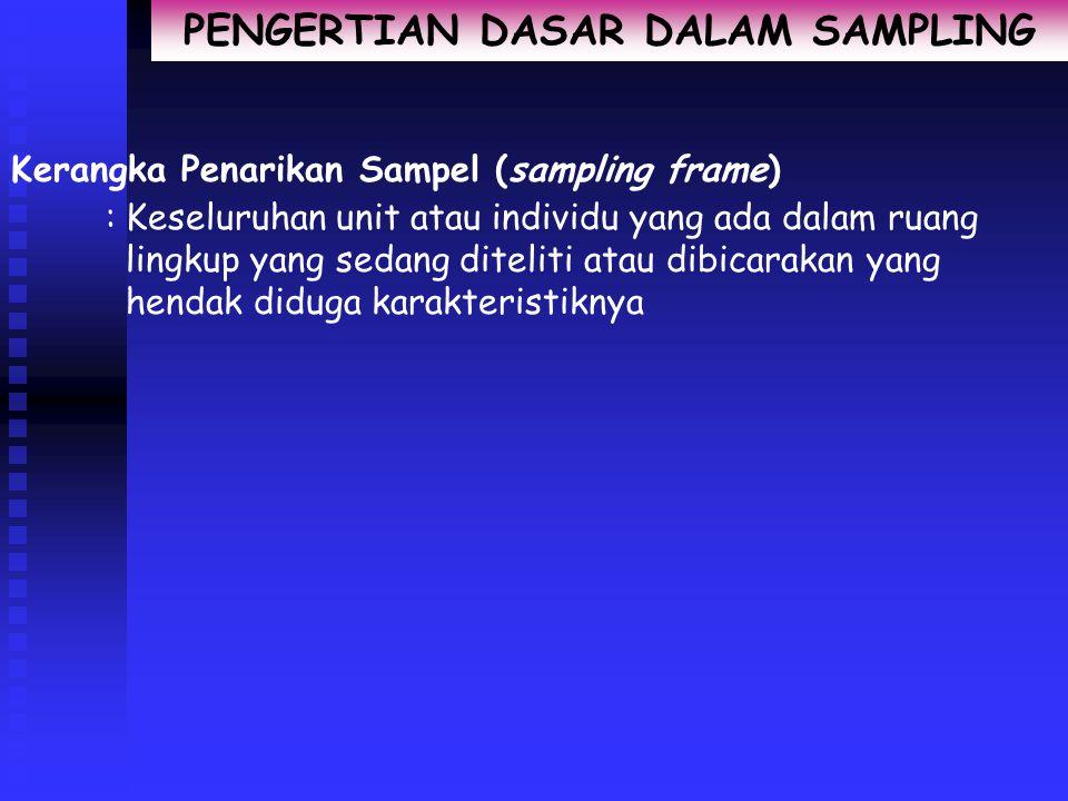 PENGERTIAN DASAR DALAM SAMPLING Kerangka Penarikan Sampel (sampling frame) :Keseluruhan unit atau individu yang ada dalam ruang lingkup yang sedang diteliti atau dibicarakan yang hendak diduga karakteristiknya