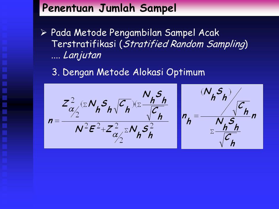 Penentuan Jumlah Sampel  Pada Metode Pengambilan Sampel Acak Terstratifikasi (Stratified Random Sampling) 1. Dengan Metode Alokasi Proporsional 2. De