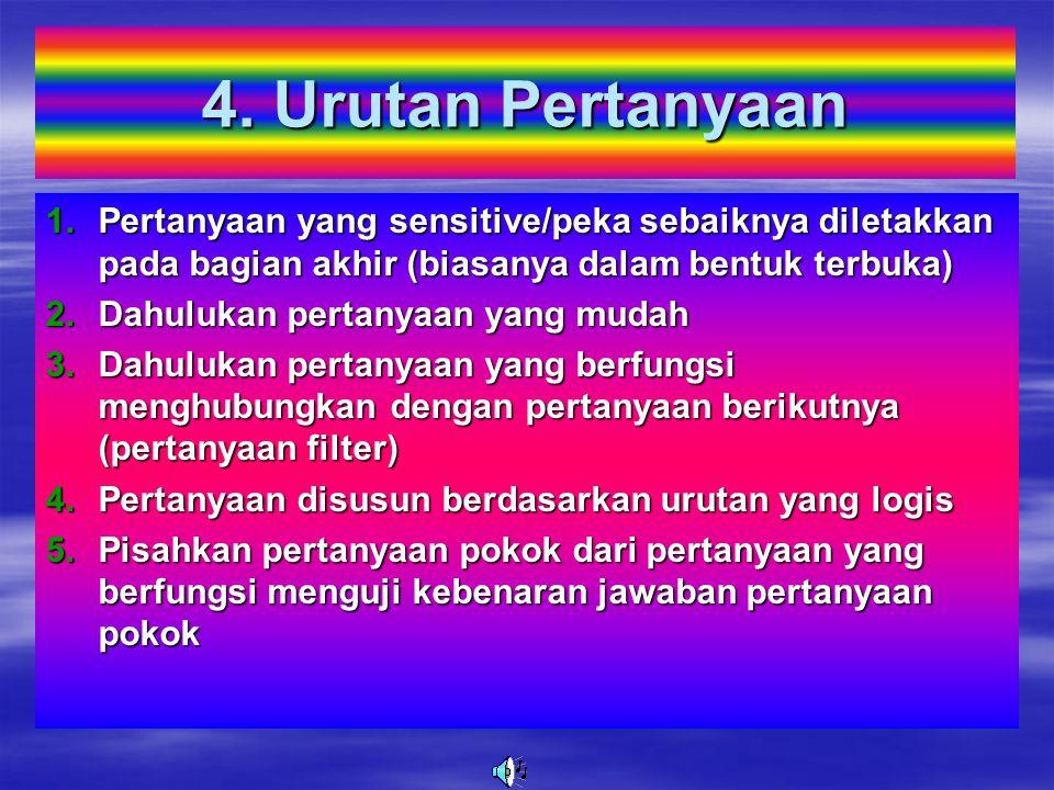 3. Isi Pertanyaan 1.J elas dan sederhana 2.H indari kata-kata yang tidak jelas atau kabur dalam membuat pertanyaan 3.H indari penggunaan kata-kata/bah