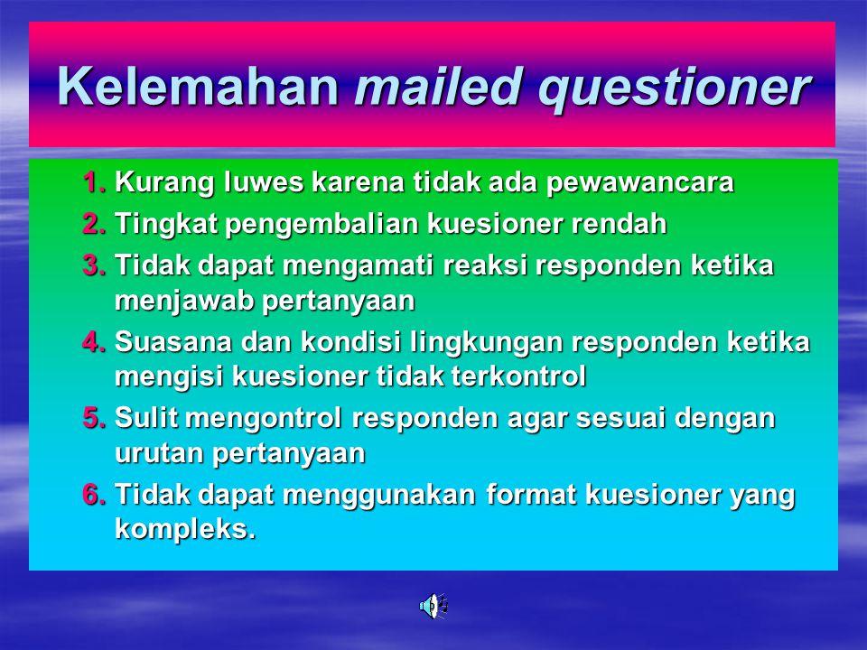 Kelebihan mailed questioner 1.Tidak perlu adanya petugas wawancara 2.Menghemat waktu 3.Responden lebih leluasa dalam mengisi kuesioner 4.Kerahasiaan j