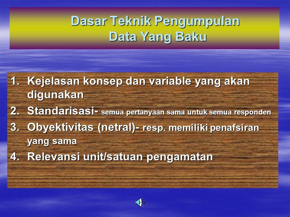 Ada dua jenis teknik pengumpulan data: 1.TEKNIK PENGUMPULAN DATA YANG BAKU/STANDAR 2. TEKNIK PENGUMPULAN DATA YANG TIDAK BAKU/STANDAR