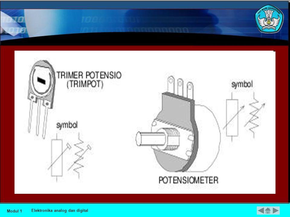 •Resistor Variable (VR) •Nilai resistansi resistor jenis ini dapat diatur dengan tangan, bila pengaturan dapat dilakukan setiap saat oleh operator (ada tombol pengatur) dinamakan potensiometer dan apabila pengaturan dilakukan dengan obeng dinamakan trimmer potensiometer (trimpot).