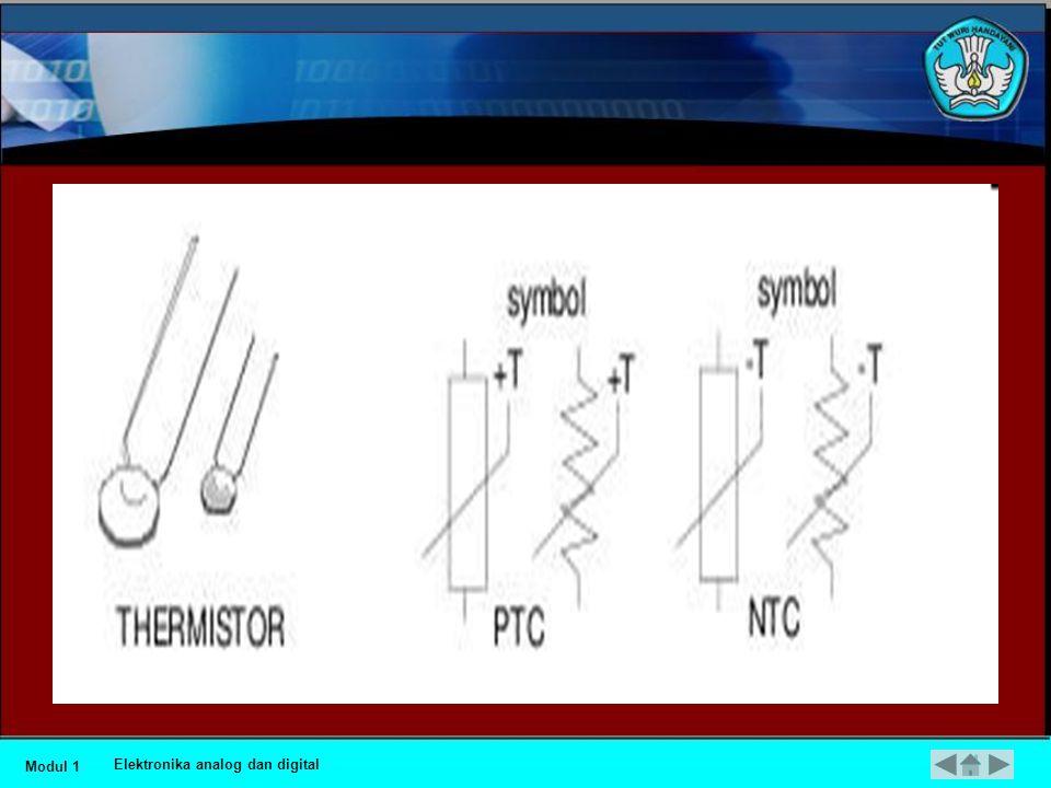 •Resistor Peka Suhu dan Resistor Peka Cahaya •Nilai resistansi thermistor tergantung dari suhu. Ada dua jenis yaitu NTC (negative temperature coeffici