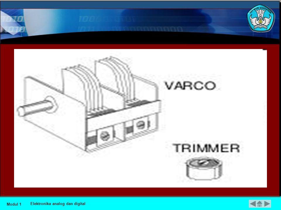 •Kapasitor Variable (VARCO) •Nilai kapasitansi jenis kondensator ini dapat diatur dengan tangan, bila pengaturan dapat dilakukan setiap saat oleh operator (ada tombol pengatur) dinamakan Kapasitor Variabel (VARCO) dan apabila pengaturan dilakukan dengan obeng dinamakan kapasitor trimmer.