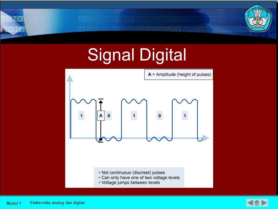 Sinyal Digital •Variabel yang menandai sistem digital menempati jumlah tetap dari nilai-nilai yang terpisah. Didalam perhitungan biner, seperti yang d