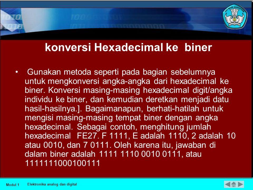 •Sebagai contoh, lihatlah jumlah biner ini 11110111001100010000. pecahlah ke dalam empat kelompok empat bit untuk menghasilkan 1111 0111 0011 0001 000