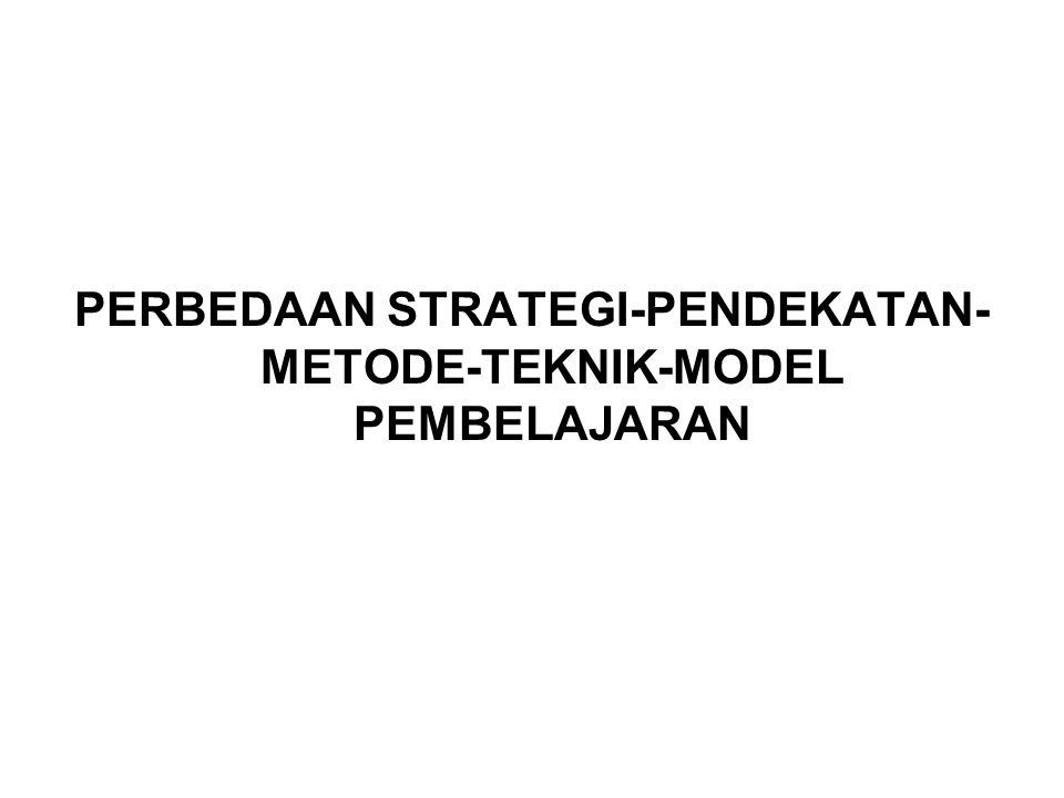 PERBEDAAN STRATEGI-PENDEKATAN- METODE-TEKNIK-MODEL PEMBELAJARAN