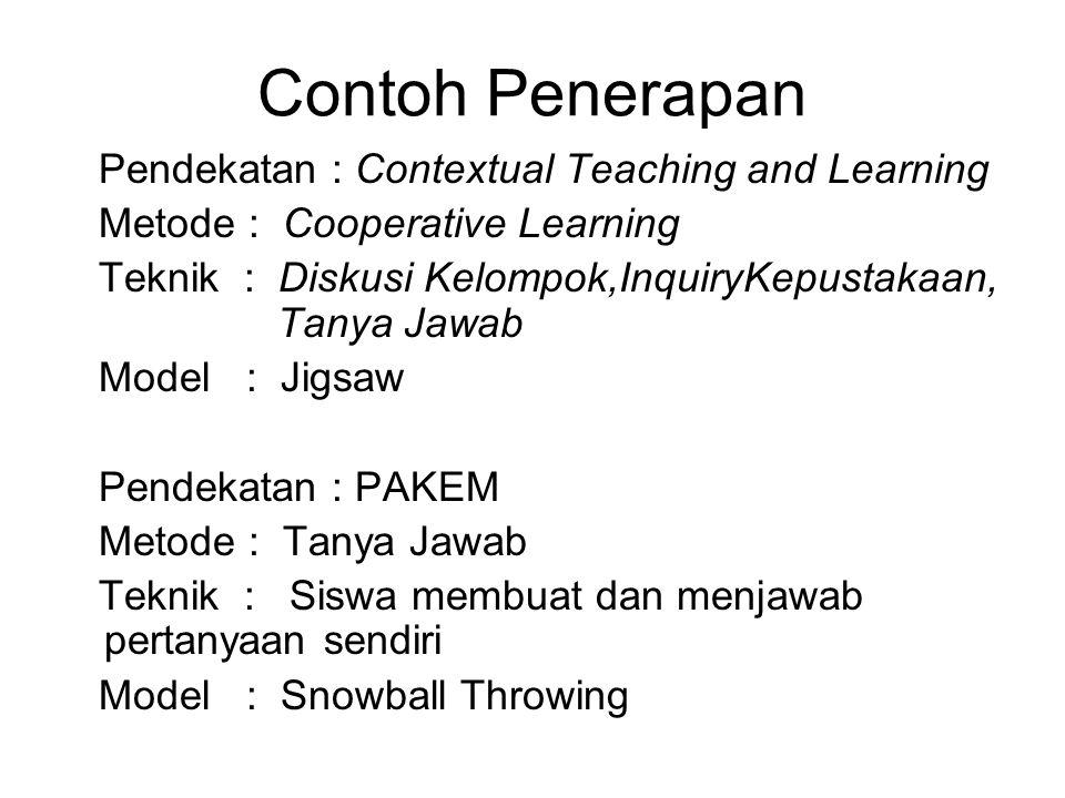 Contoh Penerapan Pendekatan : Contextual Teaching and Learning Metode : Cooperative Learning Teknik : Diskusi Kelompok,InquiryKepustakaan, Tanya Jawab