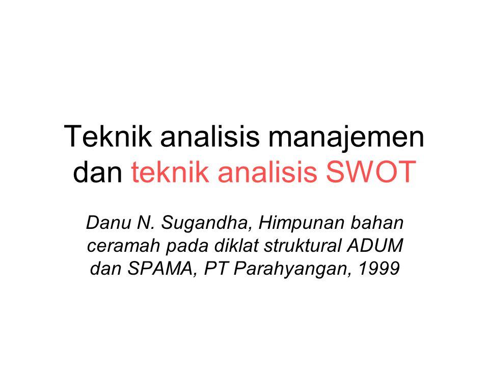 Teknik analisis manajemen dan teknik analisis SWOT Danu N. Sugandha, Himpunan bahan ceramah pada diklat struktural ADUM dan SPAMA, PT Parahyangan, 199