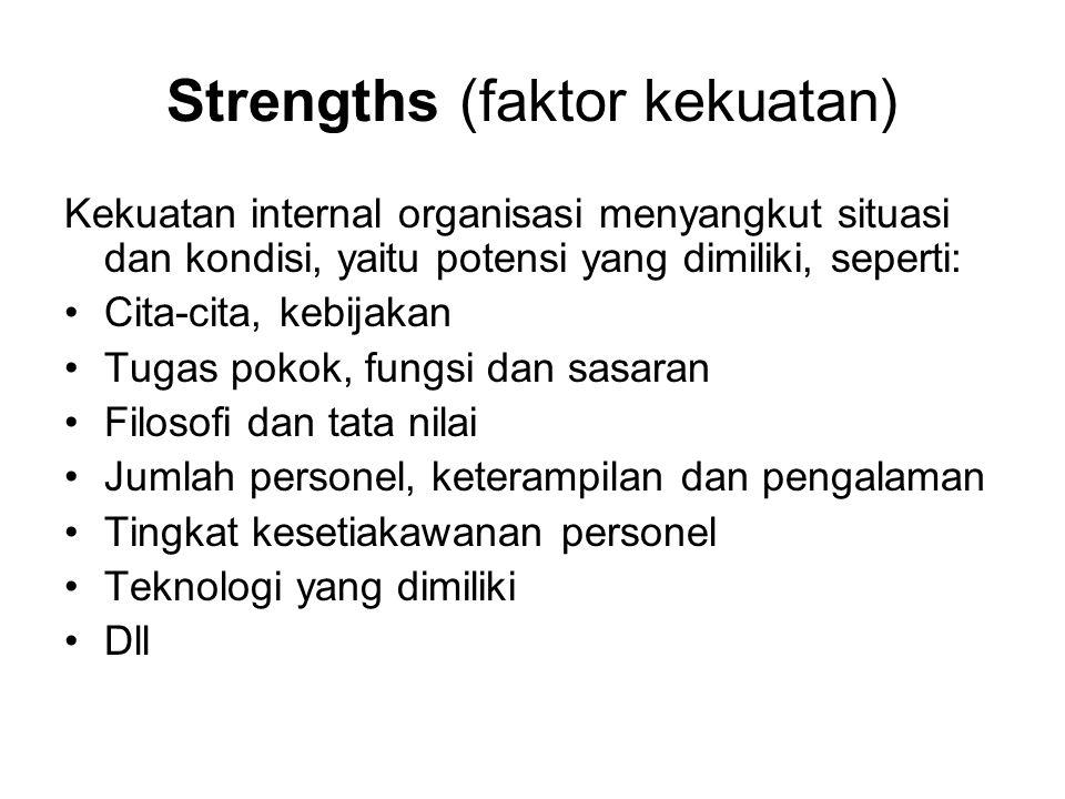 Strengths (faktor kekuatan) Kekuatan internal organisasi menyangkut situasi dan kondisi, yaitu potensi yang dimiliki, seperti: •Cita-cita, kebijakan •Tugas pokok, fungsi dan sasaran •Filosofi dan tata nilai •Jumlah personel, keterampilan dan pengalaman •Tingkat kesetiakawanan personel •Teknologi yang dimiliki •Dll