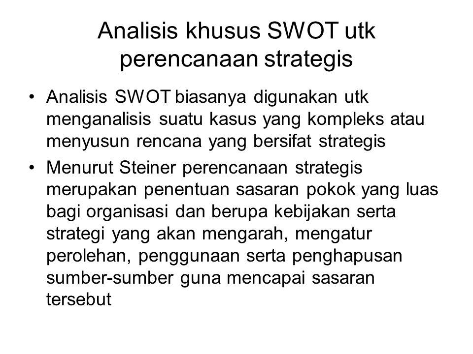 Analisis khusus SWOT utk perencanaan strategis •Analisis SWOT biasanya digunakan utk menganalisis suatu kasus yang kompleks atau menyusun rencana yang
