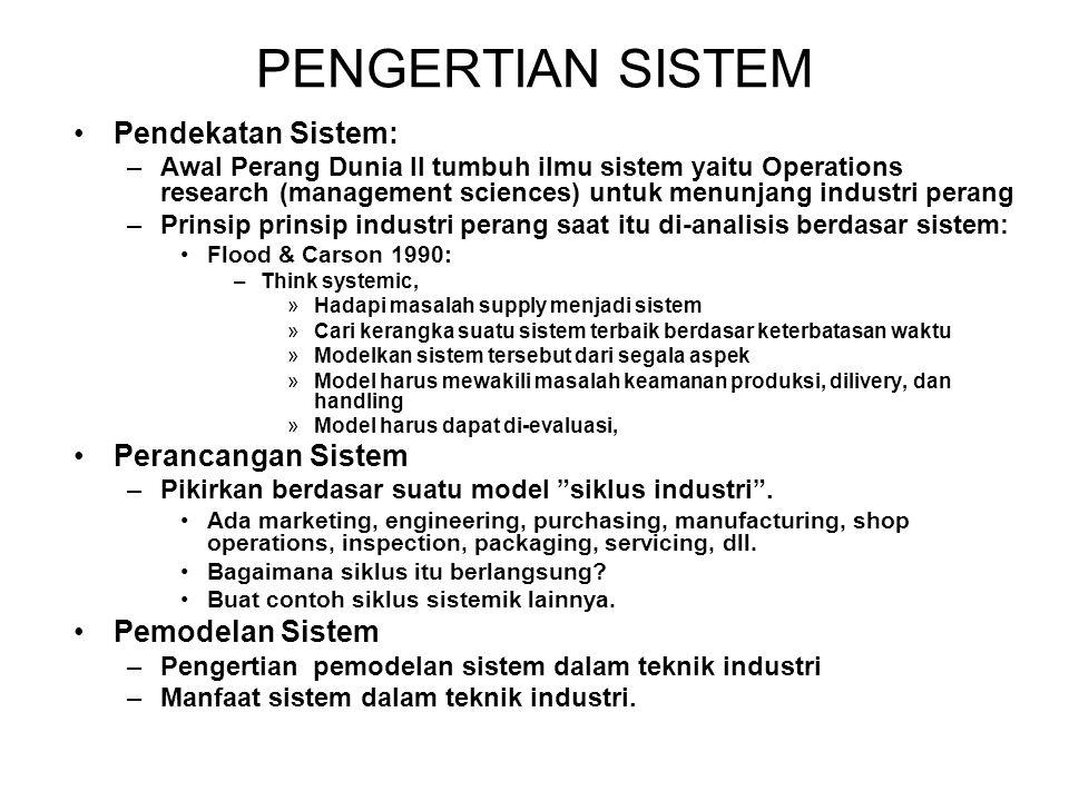 PENGERTIAN SISTEM •Pendekatan Sistem: –Awal Perang Dunia II tumbuh ilmu sistem yaitu Operations research (management sciences) untuk menunjang industr
