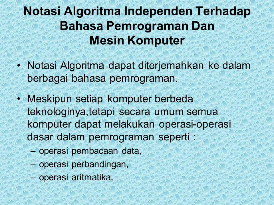 Notasi Algoritma Independen Terhadap Bahasa Pemrograman Dan Mesin Komputer •Notasi Algoritma dapat diterjemahkan ke dalam berbagai bahasa pemrograman.