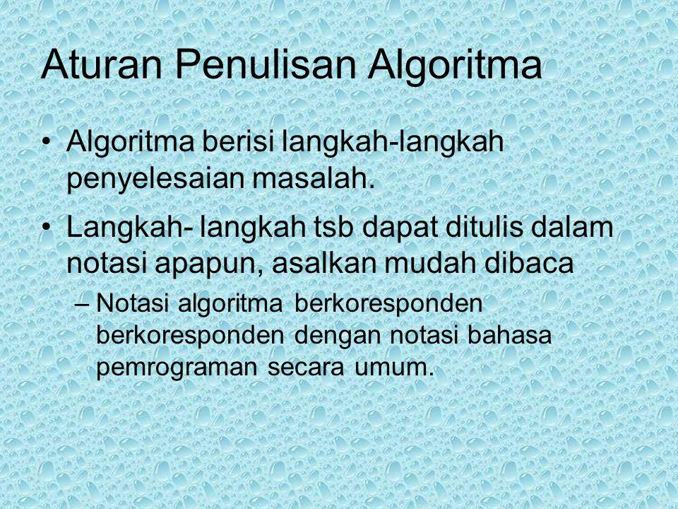 Aturan Penulisan Algoritma •Algoritma berisi langkah-langkah penyelesaian masalah.