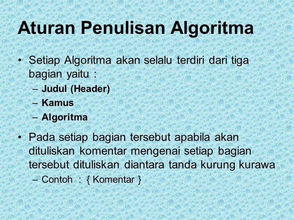 Aturan Penulisan Algoritma •Setiap Algoritma akan selalu terdiri dari tiga bagian yaitu : –Judul (Header) –Kamus –Algoritma •Pada setiap bagian tersebut apabila akan dituliskan komentar mengenai setiap bagian tersebut dituliskan diantara tanda kurung kurawa –Contoh : { Komentar }