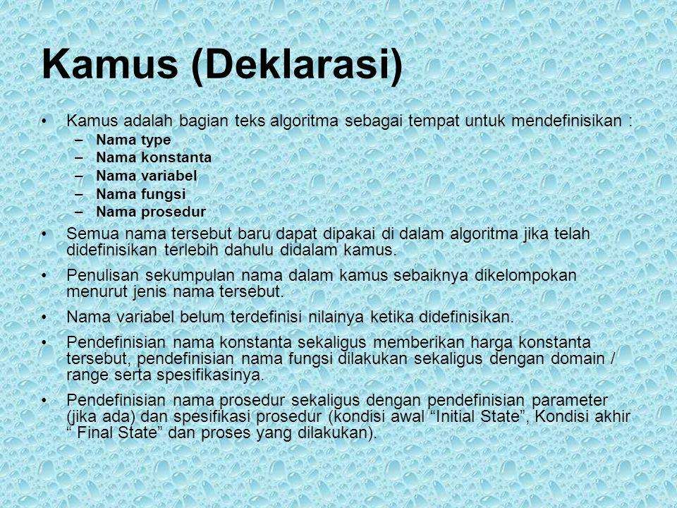 Kamus (Deklarasi) •Kamus adalah bagian teks algoritma sebagai tempat untuk mendefinisikan : –Nama type –Nama konstanta –Nama variabel –Nama fungsi –Nama prosedur •Semua nama tersebut baru dapat dipakai di dalam algoritma jika telah didefinisikan terlebih dahulu didalam kamus.