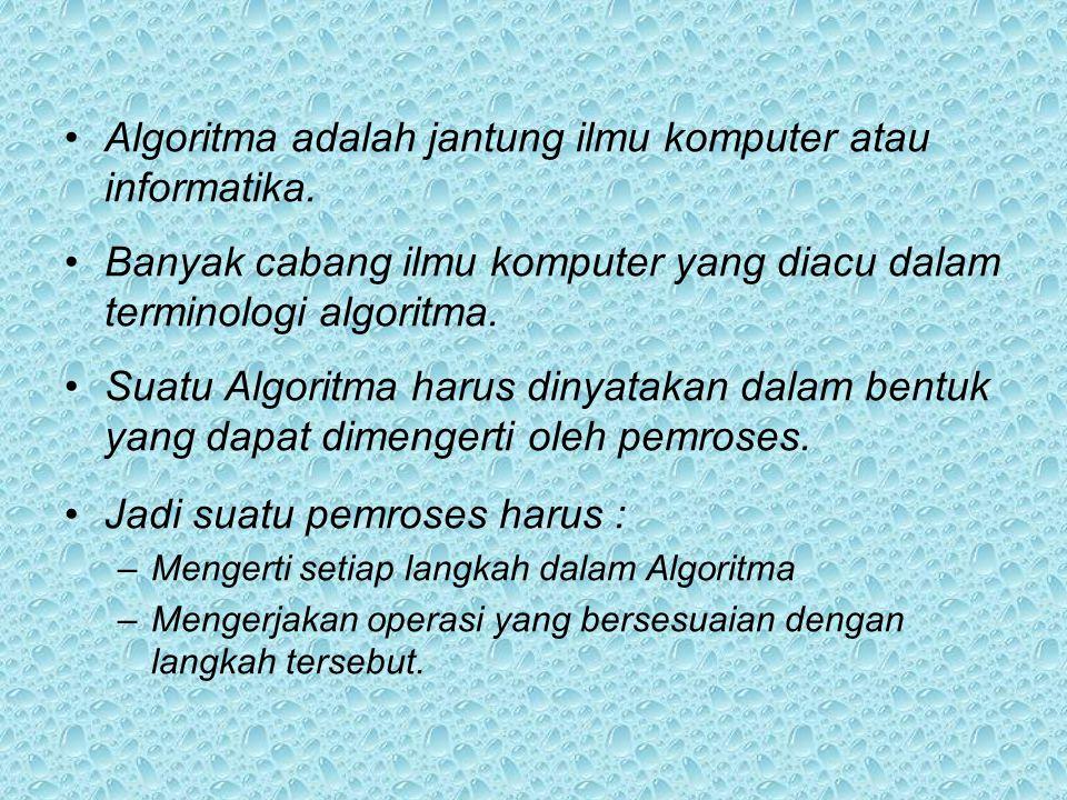 •Algoritma adalah jantung ilmu komputer atau informatika.