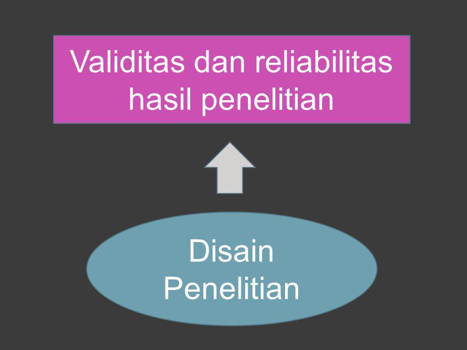 Disain Penelitian Validitas dan reliabilitas hasil penelitian