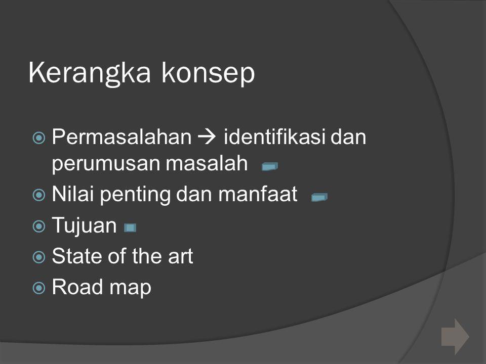 Kerangka konsep  Permasalahan  identifikasi dan perumusan masalah  Nilai penting dan manfaat  Tujuan  State of the art  Road map