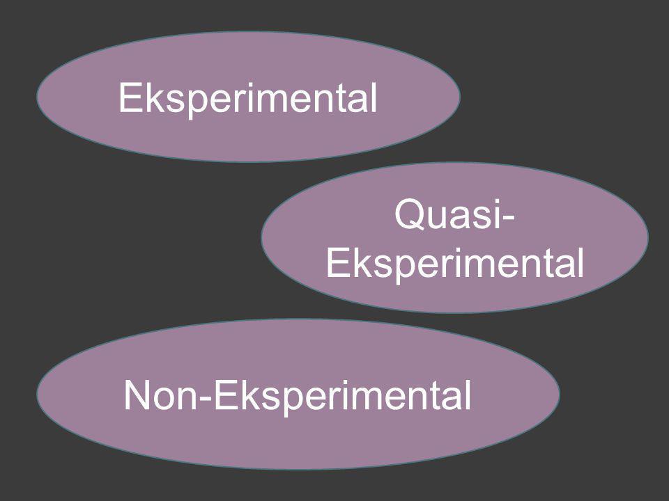 Non-Eksperimental Eksperimental Quasi- Eksperimental