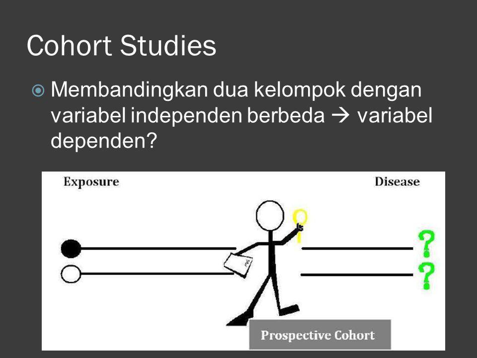Cohort Studies  Membandingkan dua kelompok dengan variabel independen berbeda  variabel dependen?