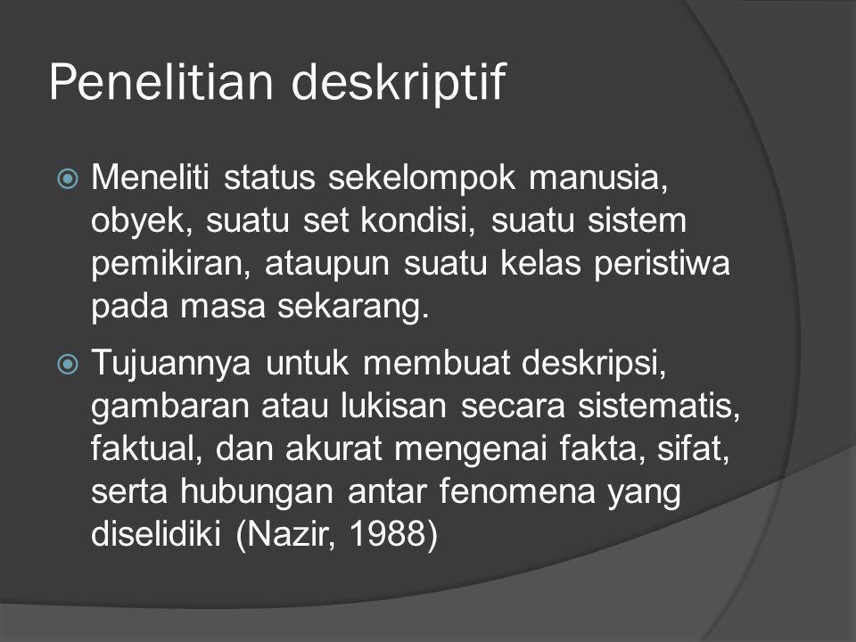 Penelitian deskriptif  Meneliti status sekelompok manusia, obyek, suatu set kondisi, suatu sistem pemikiran, ataupun suatu kelas peristiwa pada masa