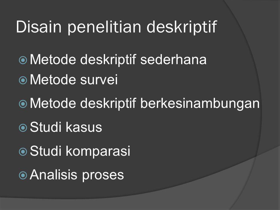 Disain penelitian deskriptif  Metode deskriptif sederhana  Metode survei  Metode deskriptif berkesinambungan  Studi kasus  Studi komparasi  Anal