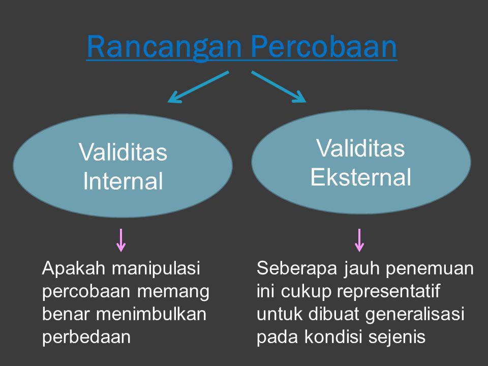Rancangan Percobaan Validitas Internal Validitas Eksternal Seberapa jauh penemuan ini cukup representatif untuk dibuat generalisasi pada kondisi sejen