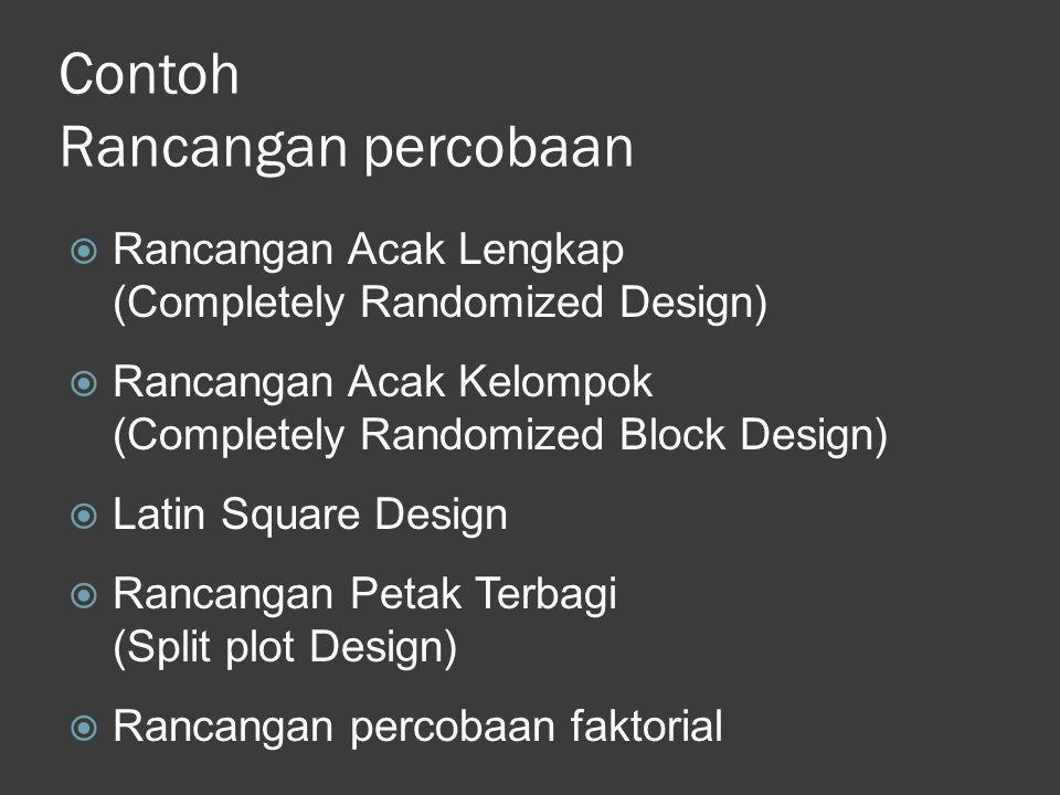 Contoh Rancangan percobaan  Rancangan Acak Lengkap (Completely Randomized Design)  Rancangan Acak Kelompok (Completely Randomized Block Design)  La