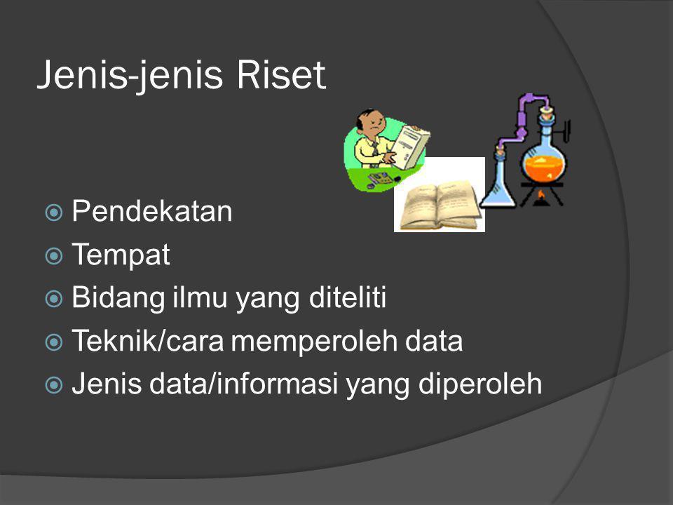Jenis-jenis Riset  Pendekatan  Tempat  Bidang ilmu yang diteliti  Teknik/cara memperoleh data  Jenis data/informasi yang diperoleh