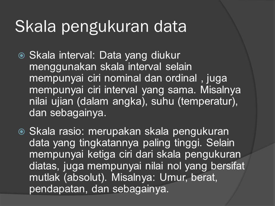 Skala pengukuran data  Skala interval: Data yang diukur menggunakan skala interval selain mempunyai ciri nominal dan ordinal, juga mempunyai ciri int