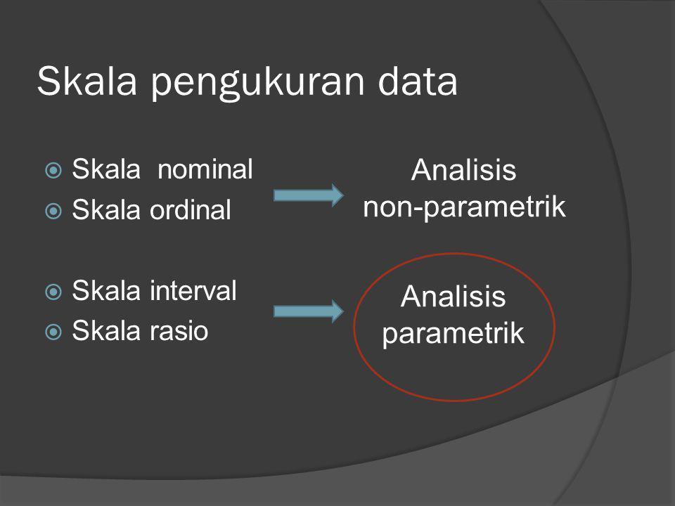 Skala pengukuran data  Skala nominal  Skala ordinal  Skala interval  Skala rasio Analisis non-parametrik Analisis parametrik