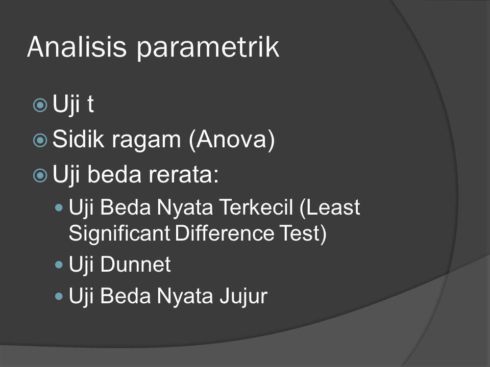 Analisis parametrik  Uji t  Sidik ragam (Anova)  Uji beda rerata:  Uji Beda Nyata Terkecil (Least Significant Difference Test)  Uji Dunnet  Uji
