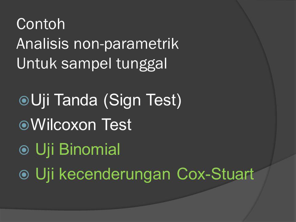 Contoh Analisis non-parametrik Untuk sampel tunggal  Uji Tanda (Sign Test)  Wilcoxon Test  Uji Binomial  Uji kecenderungan Cox-Stuart