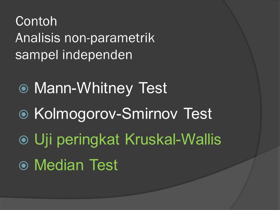 Contoh Analisis non-parametrik sampel independen  Mann-Whitney Test  Kolmogorov-Smirnov Test  Uji peringkat Kruskal-Wallis  Median Test