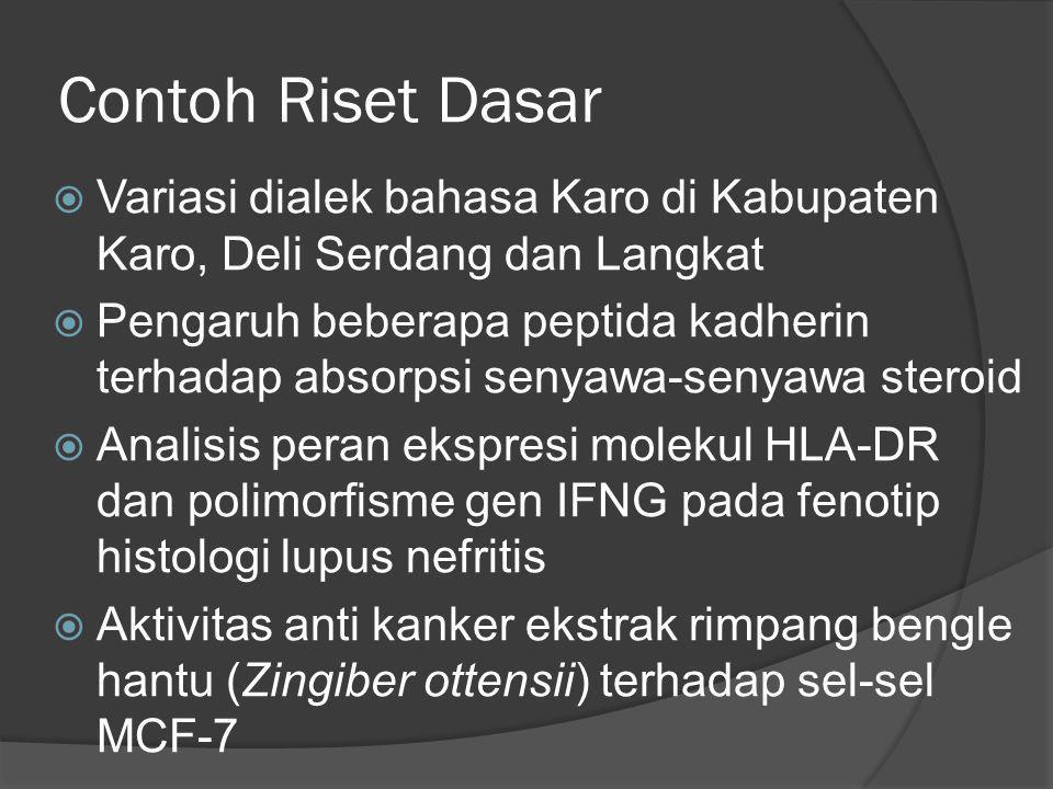 Contoh Riset Dasar  Variasi dialek bahasa Karo di Kabupaten Karo, Deli Serdang dan Langkat  Pengaruh beberapa peptida kadherin terhadap absorpsi sen