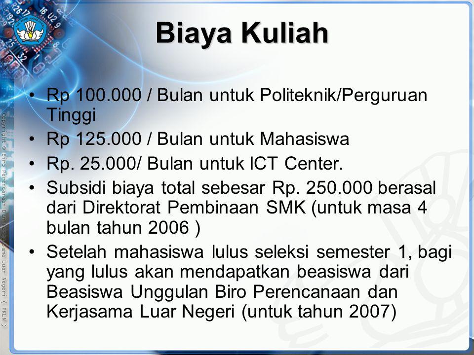 Biaya Kuliah •Rp 100.000 / Bulan untuk Politeknik/Perguruan Tinggi •Rp 125.000 / Bulan untuk Mahasiswa •Rp. 25.000/ Bulan untuk ICT Center. •Subsidi b