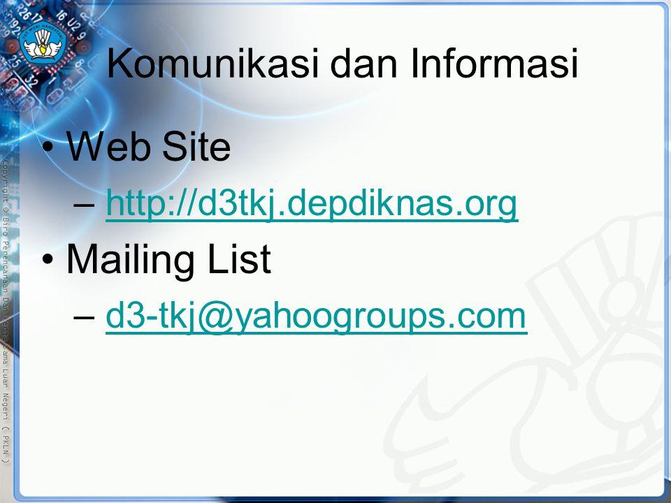 Komunikasi dan Informasi •Web Site – http://d3tkj.depdiknas.orghttp://d3tkj.depdiknas.org •Mailing List – d3-tkj@yahoogroups.comd3-tkj@yahoogroups.com