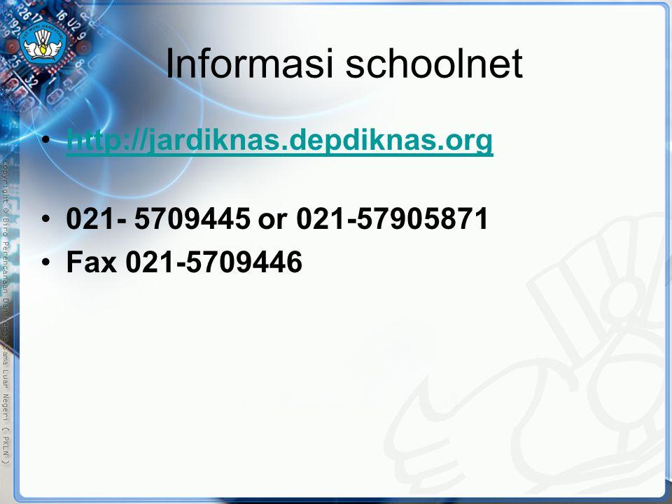 Informasi schoolnet •http://jardiknas.depdiknas.orghttp://jardiknas.depdiknas.org •021- 5709445 or 021-57905871 •Fax 021-5709446