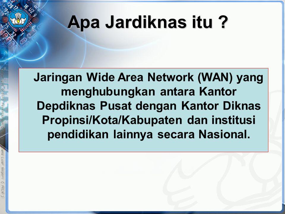 Apa Jardiknas itu ? Jaringan Wide Area Network (WAN) yang menghubungkan antara Kantor Depdiknas Pusat dengan Kantor Diknas Propinsi/Kota/Kabupaten dan