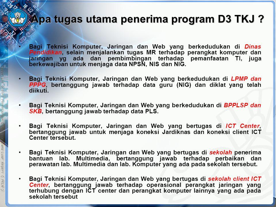 Apa tugas utama penerima program D3 TKJ ? •Bagi Teknisi Komputer, Jaringan dan Web yang berkedudukan di Dinas Pendidikan, selain menjalankan tugas MR
