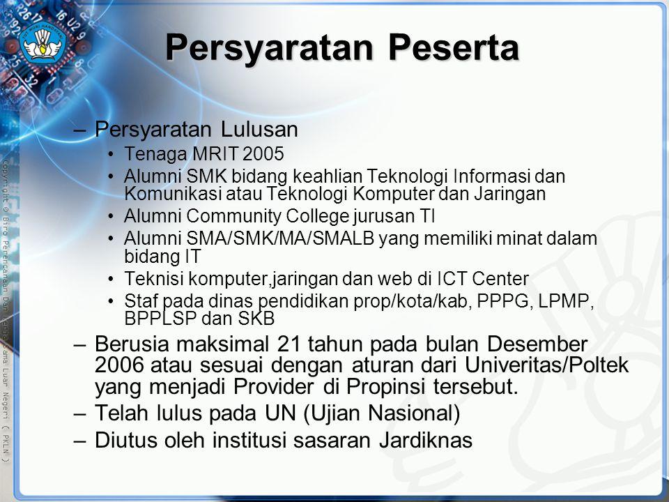 Persyaratan Peserta –Persyaratan Lulusan •Tenaga MRIT 2005 •Alumni SMK bidang keahlian Teknologi Informasi dan Komunikasi atau Teknologi Komputer dan
